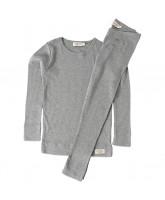 Graumeliertes Ripp-Schlafanzug