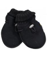 Fleece-Fäustlinge aus Wolle in Schwarz