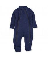 Fleece-Strampler aus Wolle in Blau
