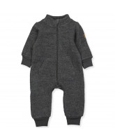 Fleece-Overall aus Wolle in Anthracite Melange